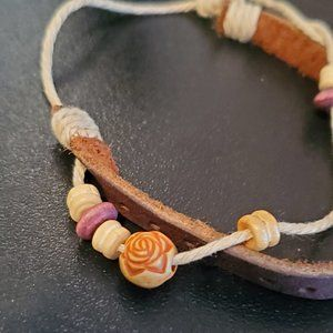 Jewelry - Brown Leather and Rope Tie Bracelet Surf Style